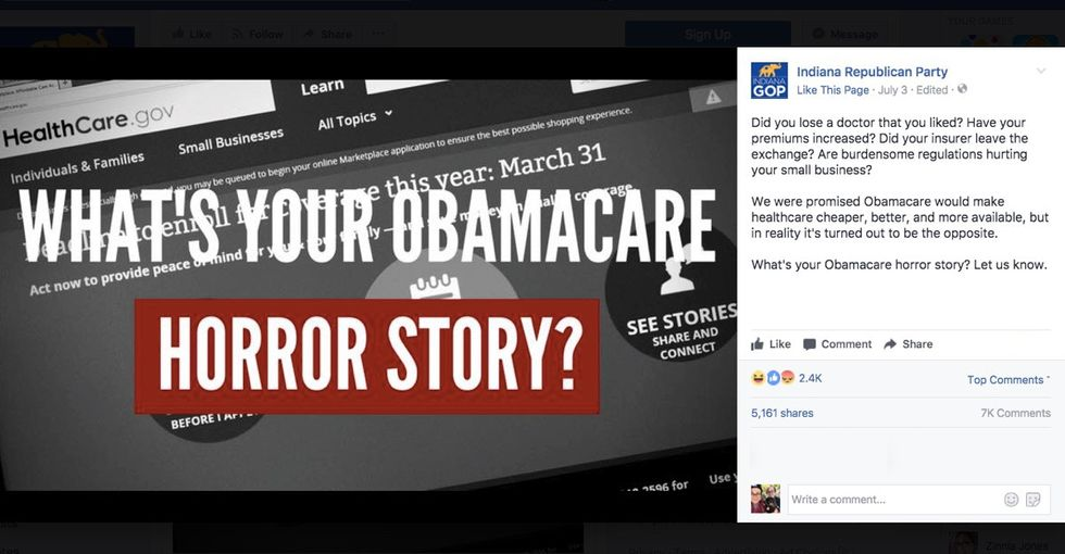Indiana Republicans asked for 'horror stories' on Facebook. It backfired.