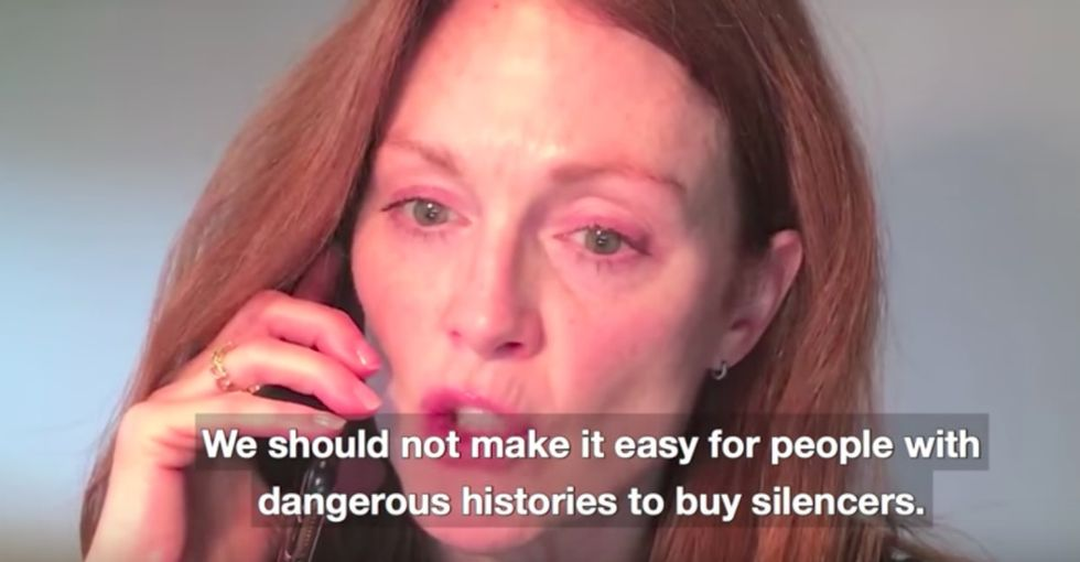 Celebrities take on gun silencers and concealed carry laws in a powerful video.