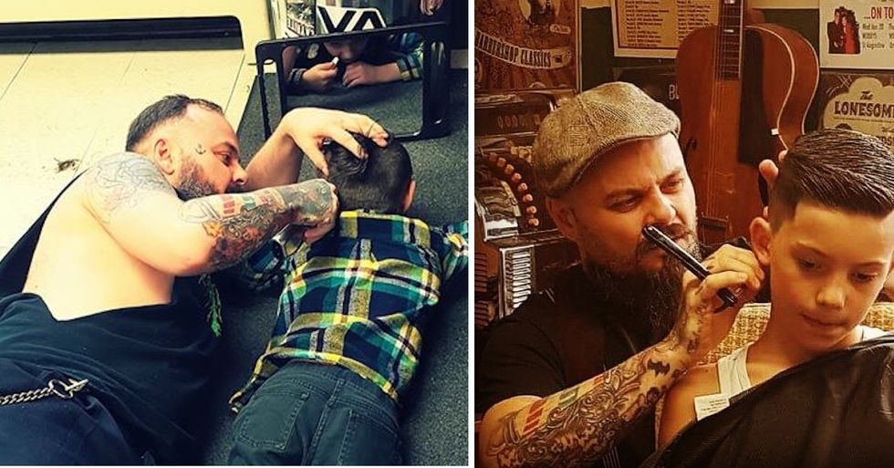 A mom took this viral photo of her son with autism and the barber who went the extra mile.