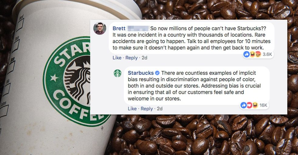 Starbucks' social media team sets an important tone addressing racial bias.