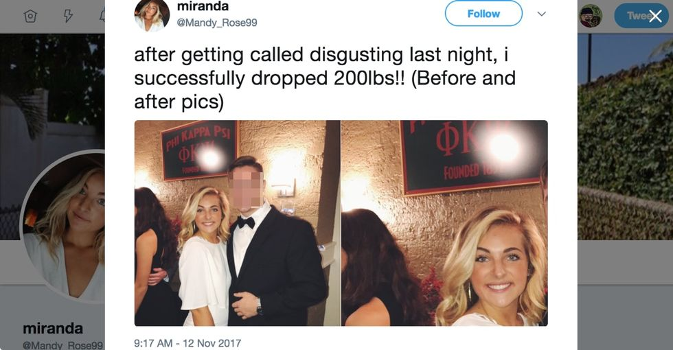 Woman's viral tweet about 'dropping 200 pounds' doubles as relationship advice