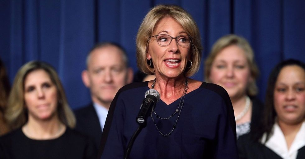 Twitter slams Betsy DeVos' decision to roll back campus sexual assault protections.
