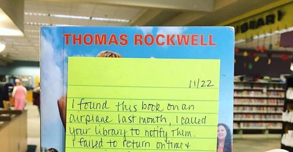 A stranger found a lost library book and returned it with this heartwarming note.