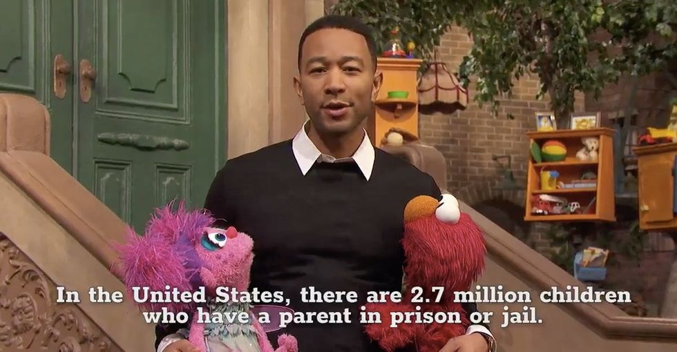 John Legend visits 'Sesame Street' to talk about kids with incarcerated parents.