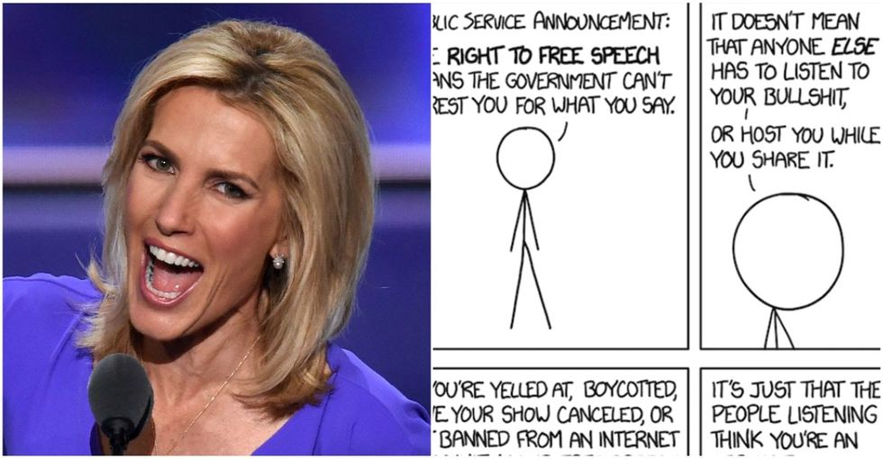 This comic perfectly explains why Laura Ingraham's 'free speech' fight is nonsense.