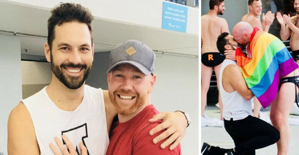 An Australian man used a water polo team to propose to his boyfriend. It's darn cute.