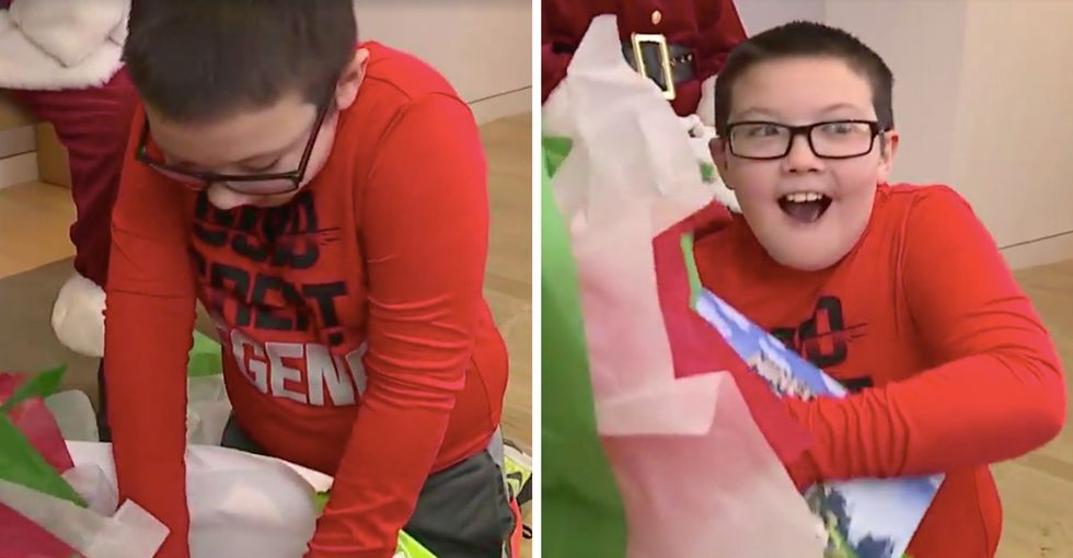 This formerly homeless boy got quite the big surprise from Santa. Watch him open it.