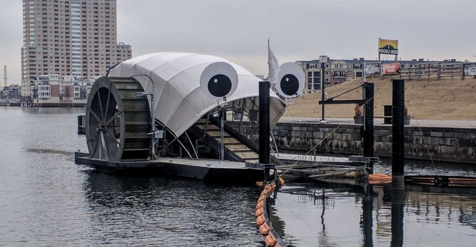 31 Days of Happiness Countdown: the googly-eyed river barge that eats litter. (Day 16)