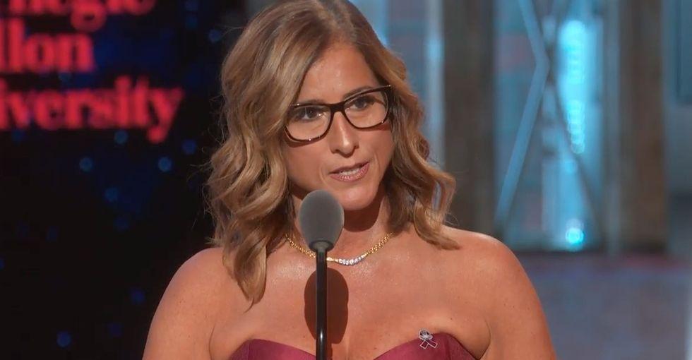 The Parkland teacher who saved 65 students won a Tony Award. Watch her powerful speech.