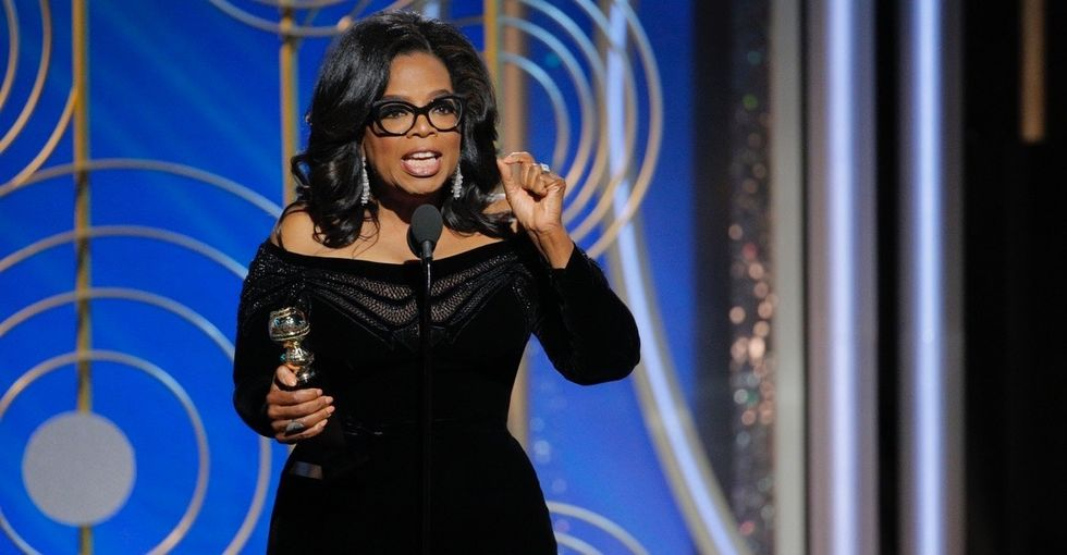 Oprah's powerful Golden Globes speech brings the nation to a standing ovation.