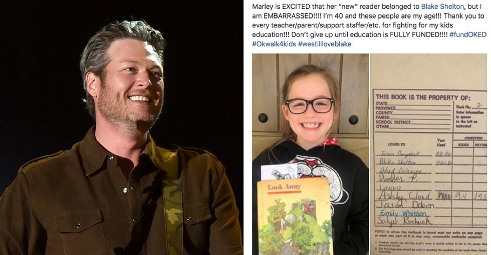 36 years before her, Blake Shelton used this girl's textbook. That's not a great thing.