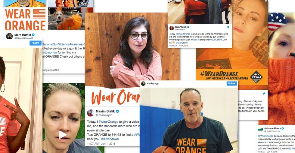 Social media goes orange for gun violence awareness, and celebs are getting involved.