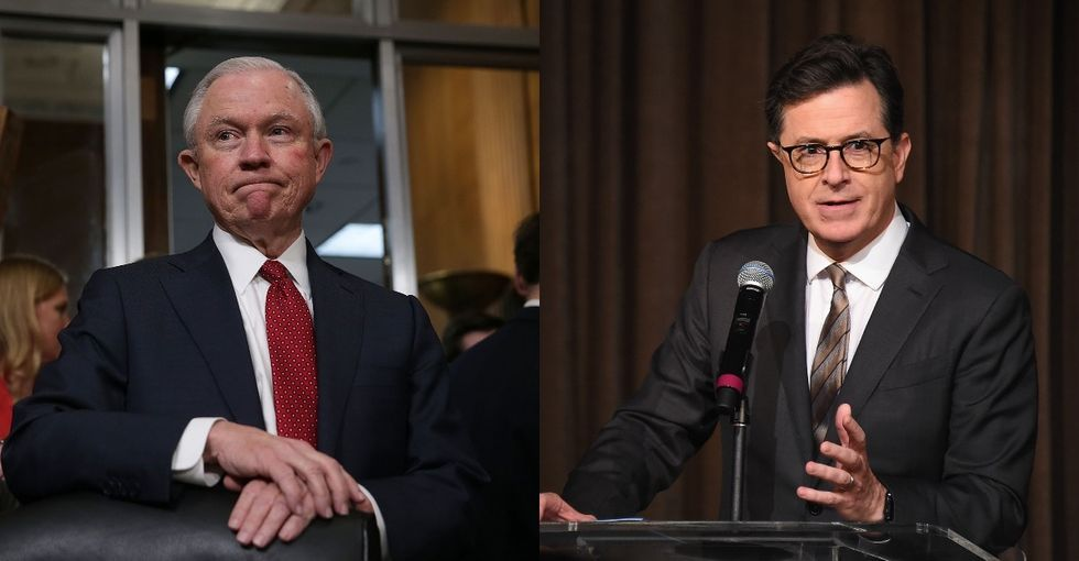 Sessions used the Bible to justify separating families at the border. Colbert shot back.