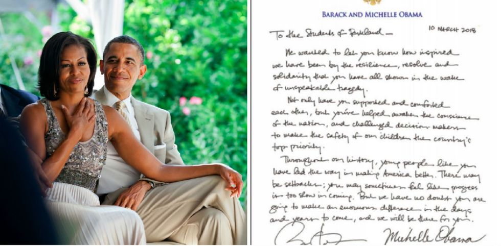The Obamas quietly said what Trump couldn't in a letter to Parkland students.