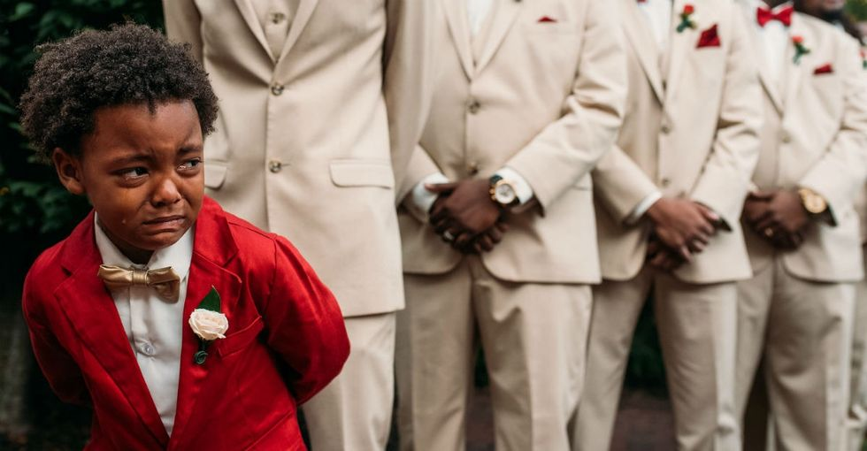 The internet fell in love with this little guy who broke down during his mom's wedding.