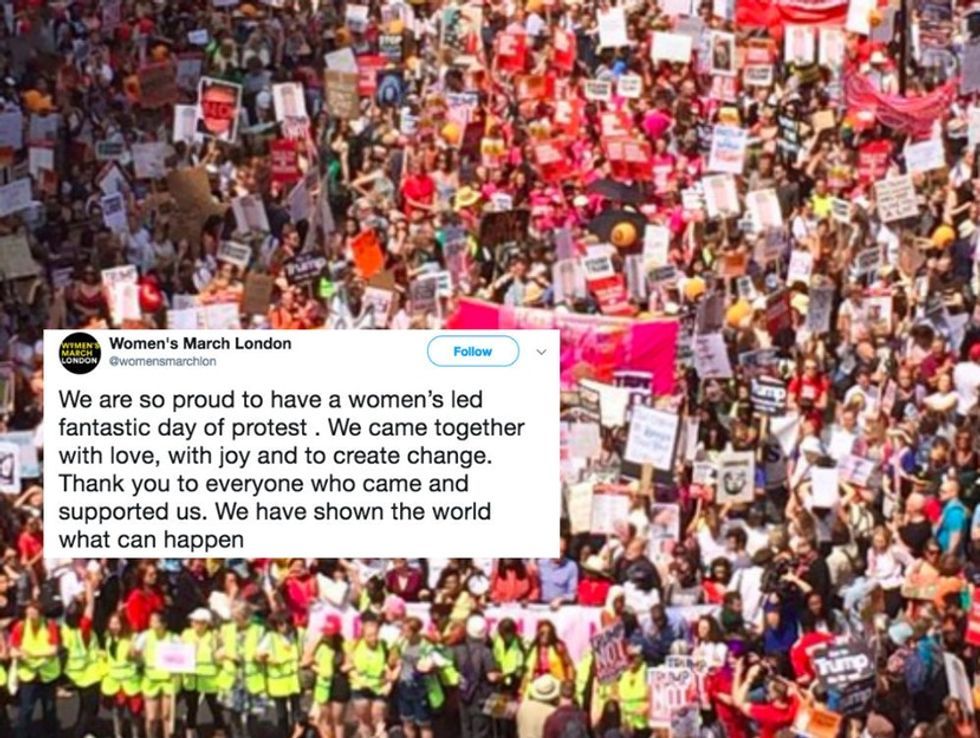 Trump protests in the U.K. began with a massive women's march.