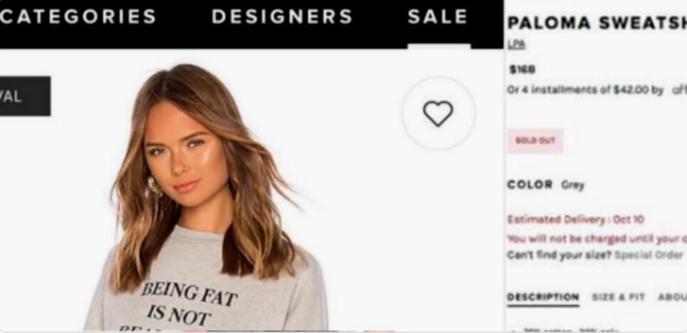 Clothing line tries to fight fat-shamers with this incredibly offensive sweater. It didn't work.