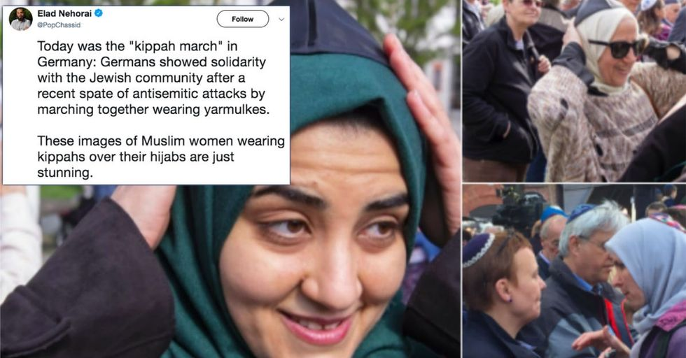 Muslim women marched in yarmulkes as part of a spectacular display of unity.