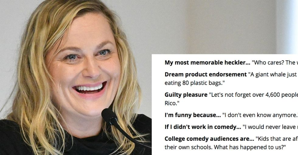 'Are you kidding me?': Amy Poehler derails silly Q and A to talk about dire issues.