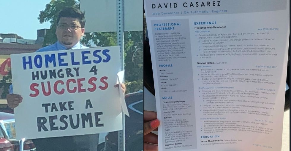 A homeless man says he got 100s of job offers when his story went viral. That's a problem.