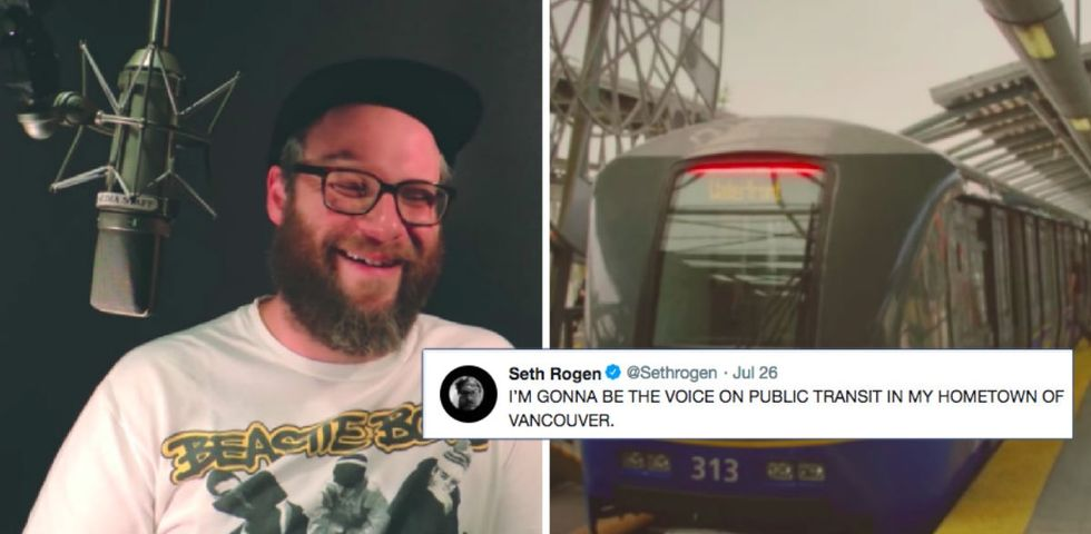 Someone joked Seth Rogen should be the voice of his city's bus system. Now he is.