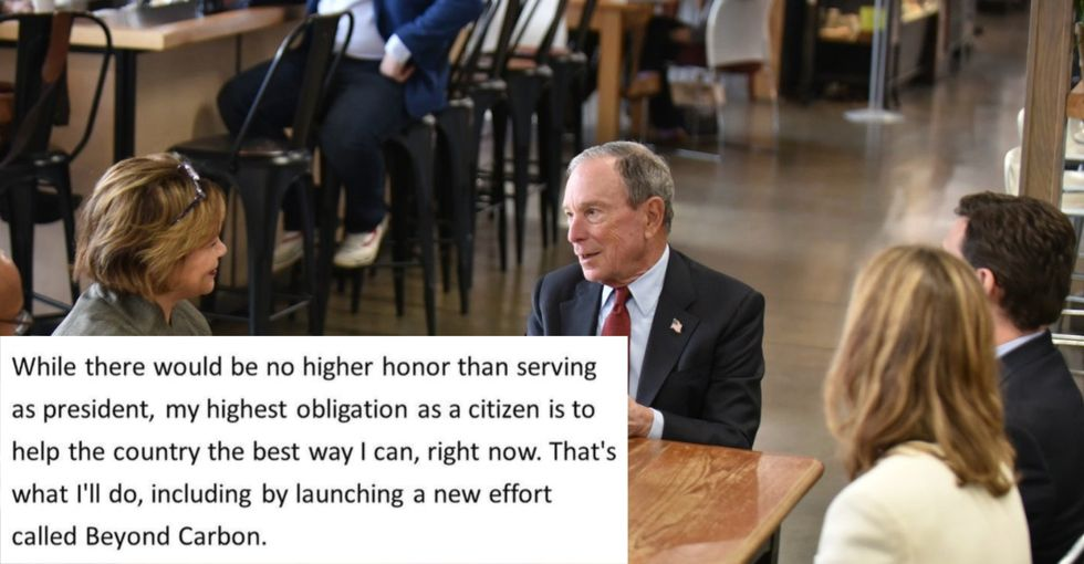 Instead of running for President, billionaire Michael Bloomberg commits to shutting down coal plants and moving U.S. to clean energy ASAP.