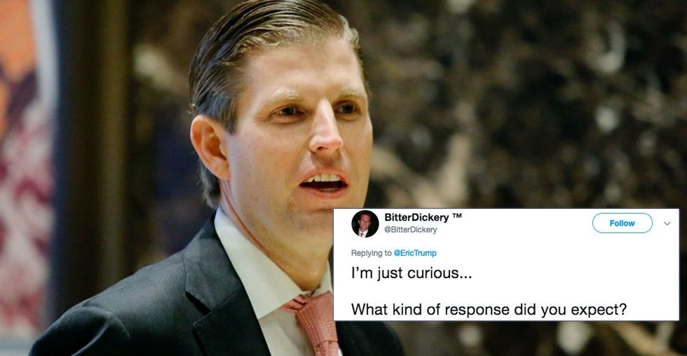 People are roasting the hell out of Eric Trump today about posting one unintentionally hilarious tweet last night.