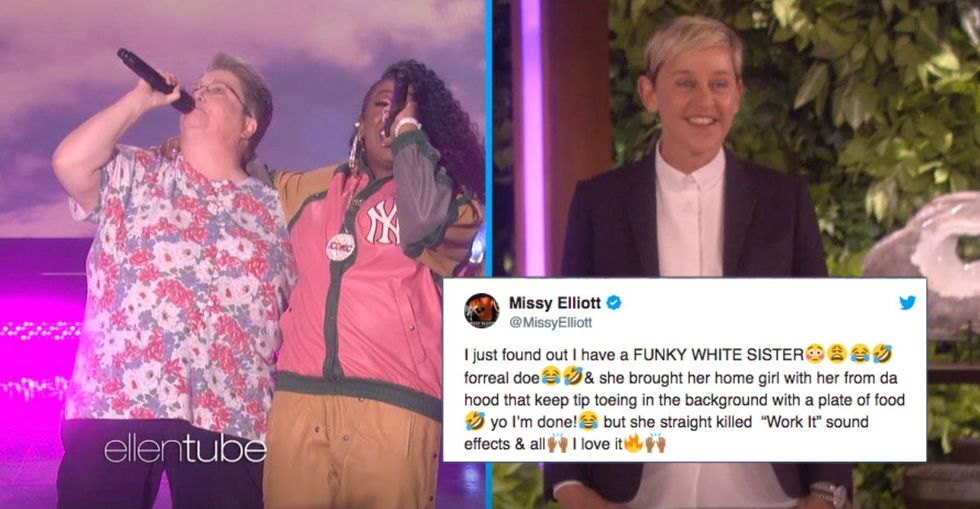 Missy Elliott sang backup for her 'funky white sister' on Ellen and it was pure magic.