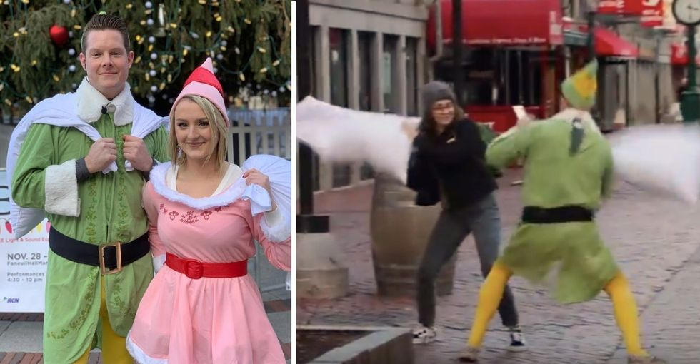'Buddy the Elf' is challenging Bostonians to street pillow fights, and it's sheer delight.
