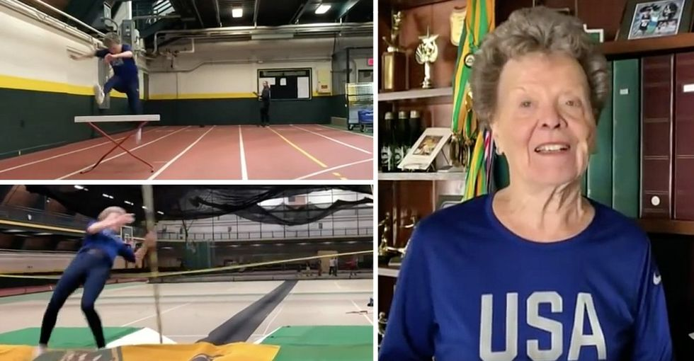 She started doing track and field at age 60. Now, at 84, she's a competitive pole vaulter.