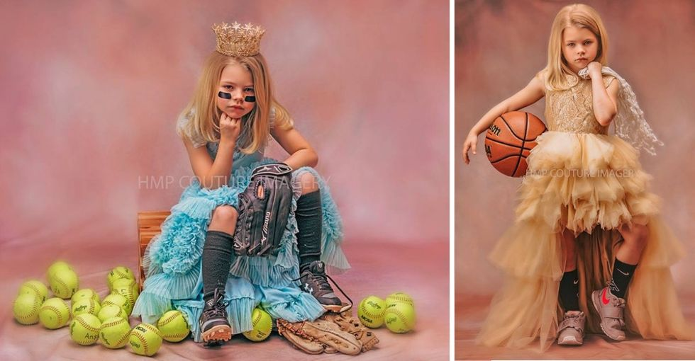 A photographer mom shoots portraits of girls in sparkly dresses and sports equipment because YES.