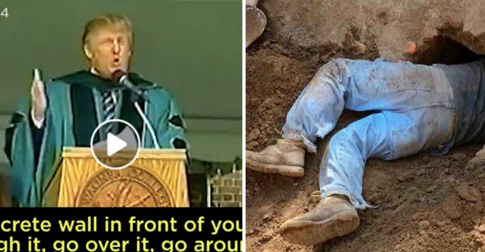 14 years ago Trump gave an inspiring speech about walls. Yesterday, 400 migrants took his advice to heart.