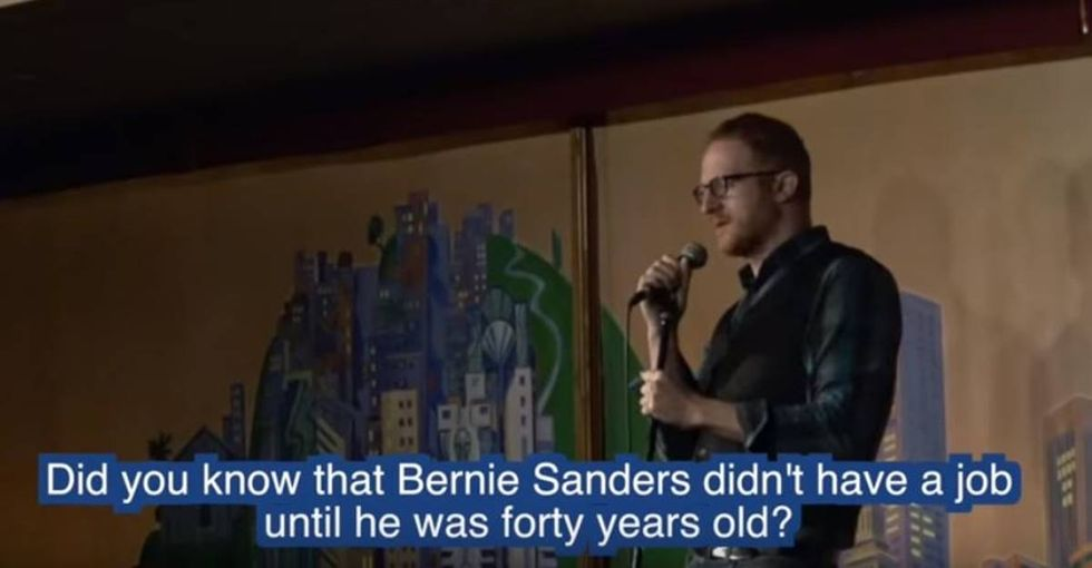 This comedian absolutely shredded a heckler who got mad at him for supporting Bernie Sanders.