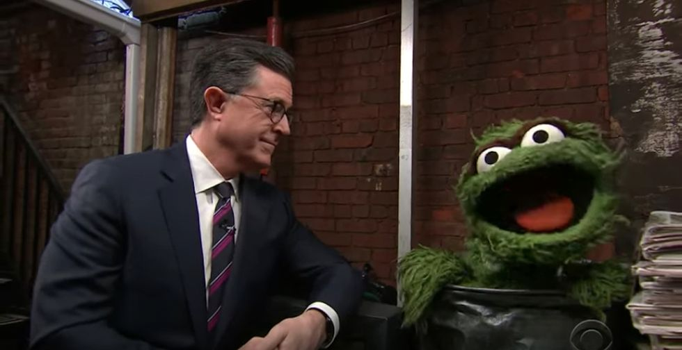 Stephen Colbert and Oscar the Grouch's new duet reminds us that things aren't so bad, after all.