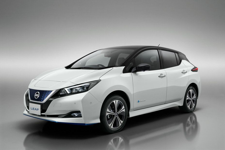 Photo of a white Nissan Leaf e+ electric car