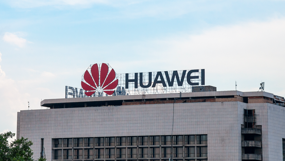 Photo of Huawei sign on a building