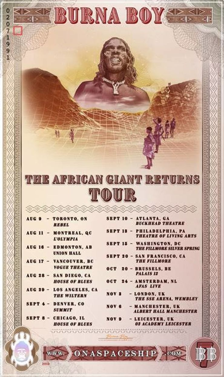 Burna Boy Announces The African Giant Returns Tour Okayafrica