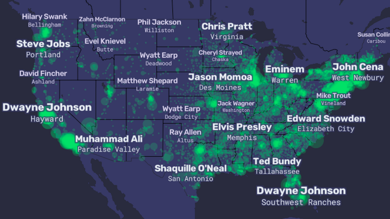 A map of America's most famous – and infamous – people