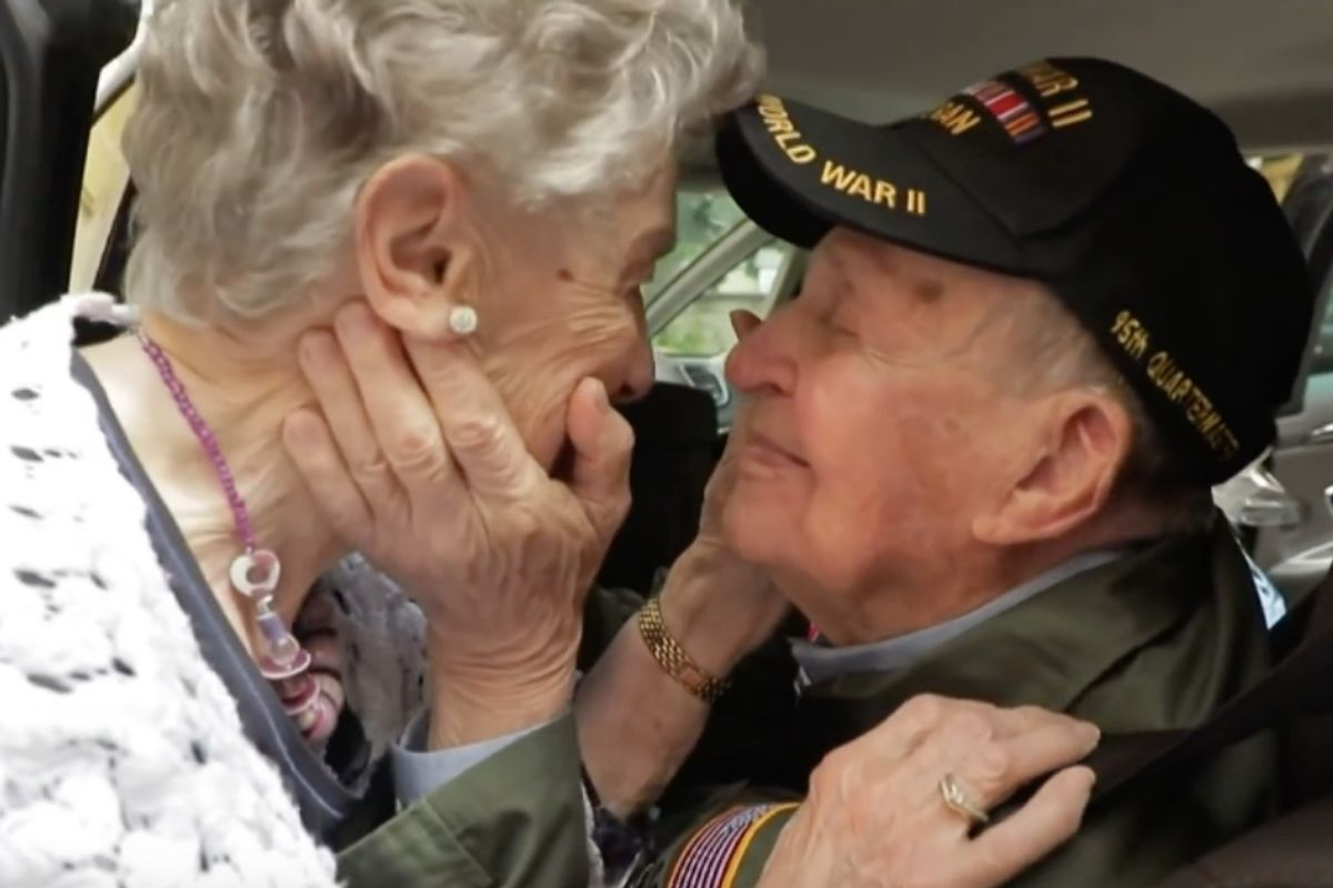 French woman reunites with the American boyfriend she hasn't seen in the 75 years since they fell in love during WWII.