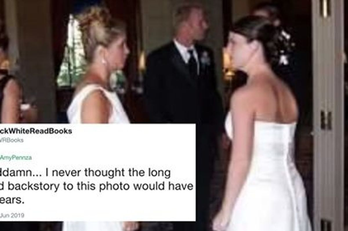 Groom's mom shows up to wedding in bridal dress — updo included.