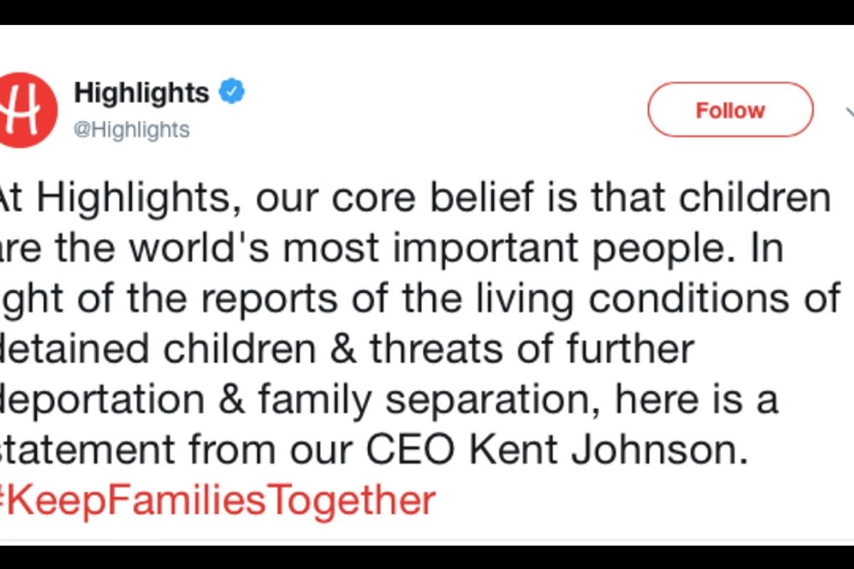 Highlights magazine denounces family separations in a blistering new editorial.