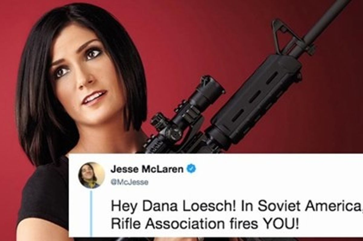 NRA spokeswoman Dana Loesch was fired and the internet is sending its thoughts and prayers.