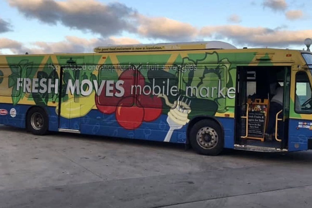 Urban Growers Collective converts Chicago city buses into mobile produce stands for city food deserts.
