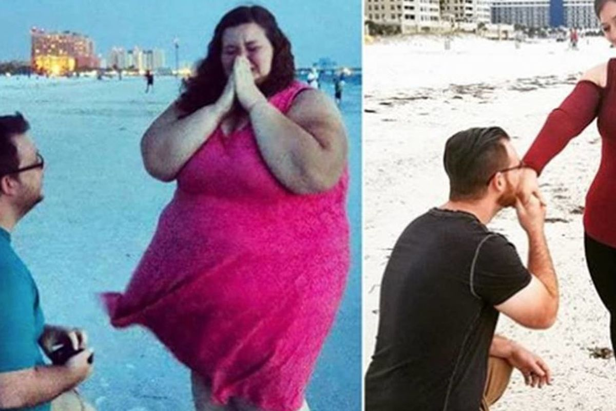 An inspiring couple shows off the success of working together for healthy weight loss.