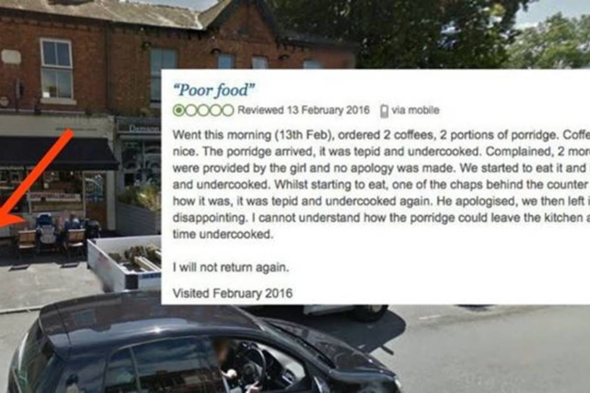A café got a one-star review for its food but its response was five stars.