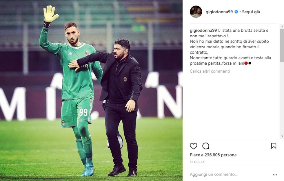 donnarumma raiola milan mirabelli contratto instagram