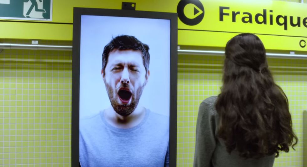 Yawning Billboard Gives Free Coffee to Groggy Commuters