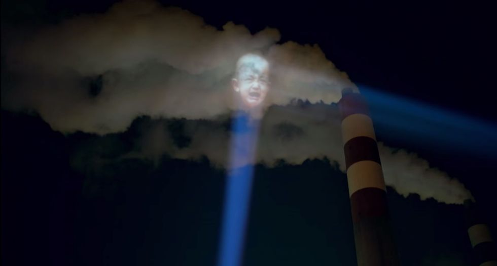 Babies Projected Onto Smog Become the Face of Chinese Air Pollution