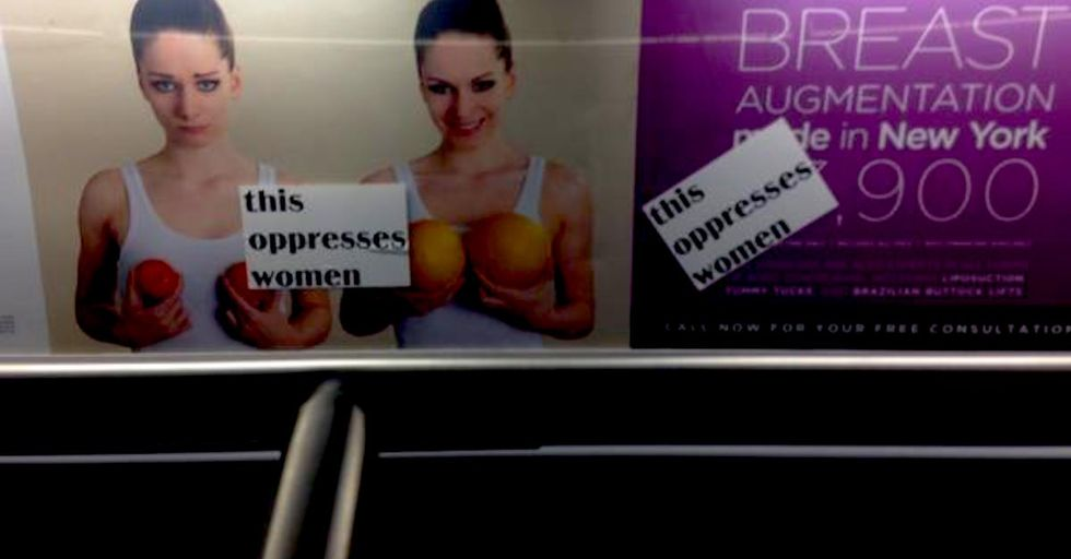Vintage Feminist Stickers Call Out Sexist Subway Ads