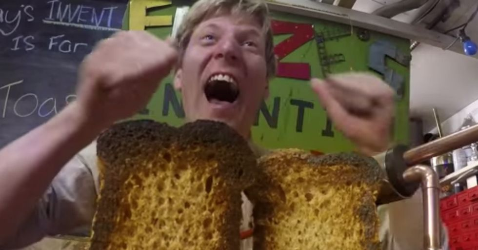 Wacky Inventor Creates a Knife That Toasts as it Cuts